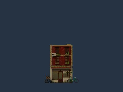 Shopfront   Yanyi Cafe pixelart pixel illustration design space architecture building 3d voxel