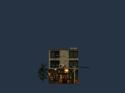 Shopfront   Haotian Bookstore pixelart pixel illustration design space architecture building 3d voxel