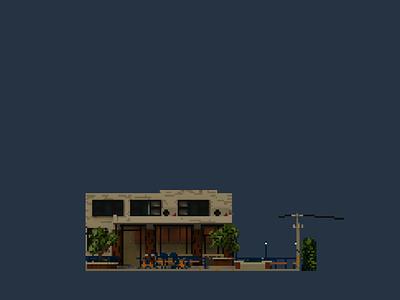 Shopfront   Bigsmall Cafe pixelart pixel illustration design space architecture building 3d voxel