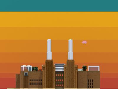 Public Building   Battersea Power Station pixel magicavoxel illustration design space architecture building 3d voxel
