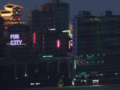 Scene   Fog City magicavoxel design space architecture building 3d voxel