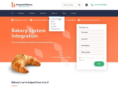 Integrated Bakery homepage