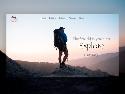 Mountains Company landing page mockup montain travelling travel illustration logo motion graphics 3d ui icon graphic design design branding app animation