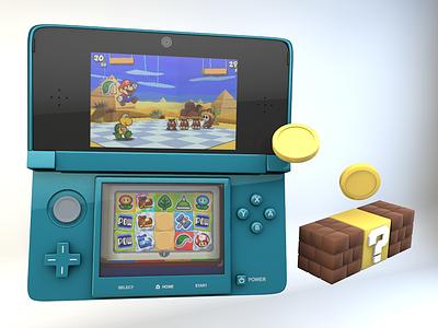 Nintendo 3DS Render nintendo 3ds mario nintendo 3ds cinema 4d