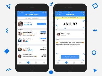 Venmo - Transaction Timeline pending money payment venmo sketch receipt party shapes iphone ios