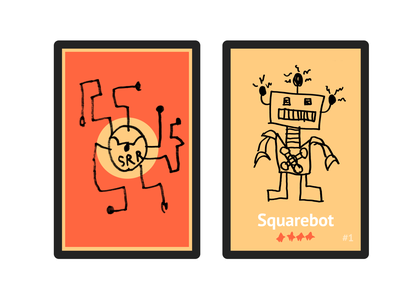 Robot Card (Back/Front) collage stroke border black rounded corners card kids drawing robot