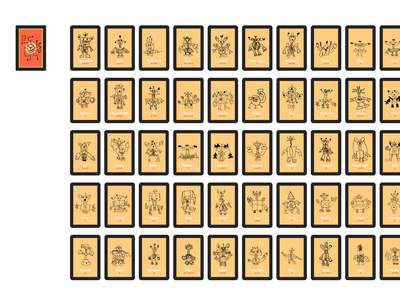 50 Robots cards robot drawing kids