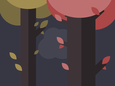Trees + sketches trunk leaf yellow red