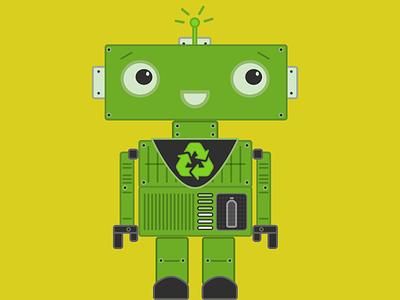 Greenbot recycle green robot illustration kids tshirt