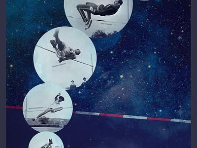 Longitude poster photo sports high jump futura space illustration collage art