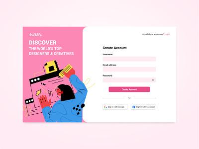 Dribbble: Create Account Page design challenge ui