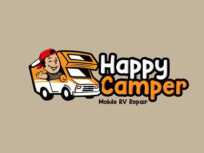 Happy Camper icon illustration design vector typography logo graphic design branding