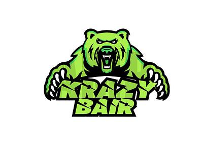Krazy Bair illustration icon design vector typography logo graphic design branding