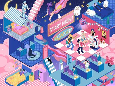 Night in the city graphic design design illustration