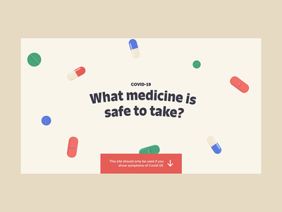 Covid 19 self-care info | Website Design self-medication symptoms informations animated titles searching scrolling