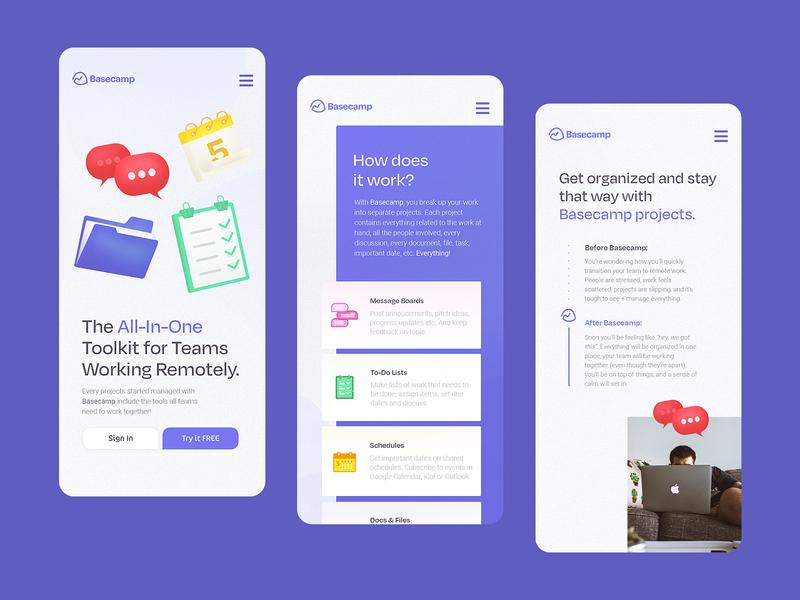 Basecamp | Landing Page Mobile purple icons b2b landing