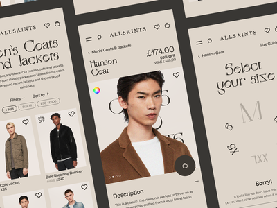 All Saints Redesign Concept mobile serif select size products e-commerce