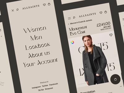 All Saints Redesign | Animations fashion products serif principle mobile menu swipe drag e-commerce
