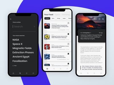 Science News | App Design app design saved news search feed posts blog articles science app