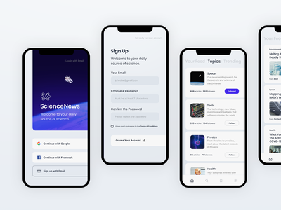 Science News | More Screens & Wireframes figma wireframes design system assets library log in sign-up landing search comments post article news science application app design app
