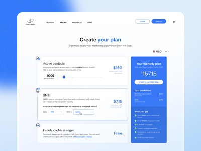 Carts Guru | Pricing page desktop mobile icons calculate blue slider plan automation marketing software saas startup pricing