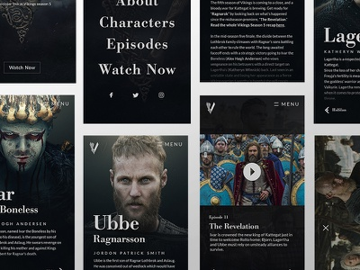 VIKINGS | Mobile Overview menu previews episodes about characters dark vikings