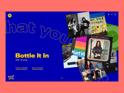 Kurt Vile | Discography page transition saturated bright colours colors wobbly organic animated