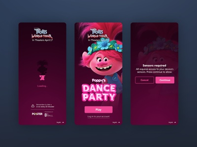 Trolls 2 AR Games - Landing Pages party pink prompt title loading landing trolls movie games