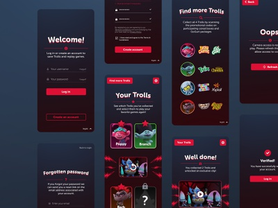 Trolls 2 AR Games   More screens delete account reset password faq account settings collect page create account