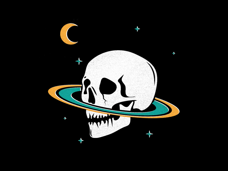 SPACE moon stars saturn space skeleton skull