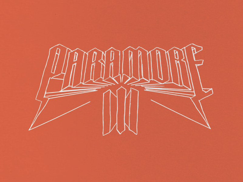 Paramore hand blackletter tee rock metal vintage merch band paramore