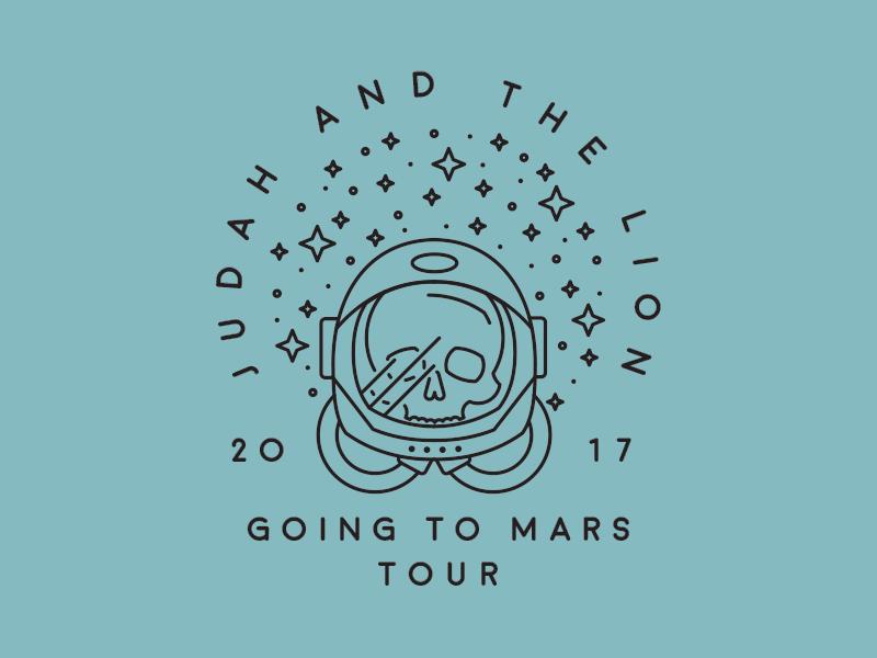 Judah and the Lion: Going to Mars Tour helmet tour band skull skeleton astronaut planet star space mars lion judah