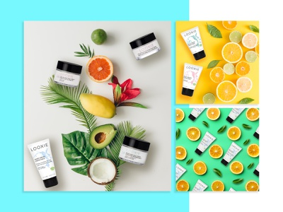 Looxie green yellow light blue coconut orange lemon avocado make up beauty cosmetics fruits visual identity visual design branding graphic design design