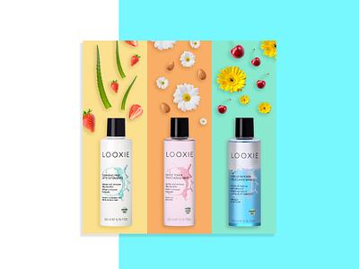 Looxie almonds cherry flowers make up cosmetics beauty nuts aloe strawberry fruits visual identity visual design graphic design design