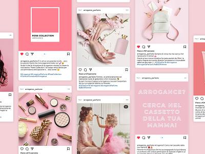 Arrogance Parfums make up beauty parfum parfums rose pink instagram design instagram feed instagram visual identity visual design content design social media design branding graphic design design