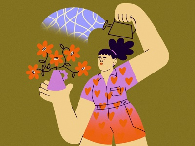 Watering Flowers overalls hearts can water flowers pattern gradient character texture procreate illustration