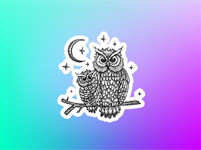 Sticker Mule Holographic Playoff stickermule doodle bird sticker moon star night sketch tattoo dotwork illustration vector owlet owl holographic