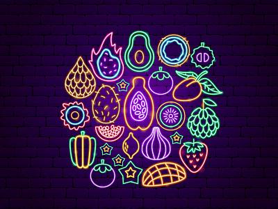 Tropical Fruit Neon design nature dragon fruit papaya vegan icon tropical exotic fruit neon illustration vector