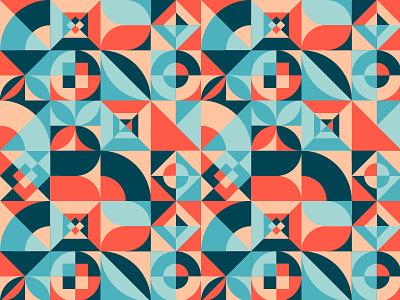Retro Bauhaus Pattern circle triangle shape square design tile retro polygonal geometric texture background seamless bauhaus pattern illustration vector