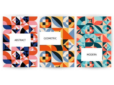 Bauhaus Posters abstract texture branding shape circle square polygonal background retro modern bauhaus geometric banner flyer poster design seamless pattern illustration vector