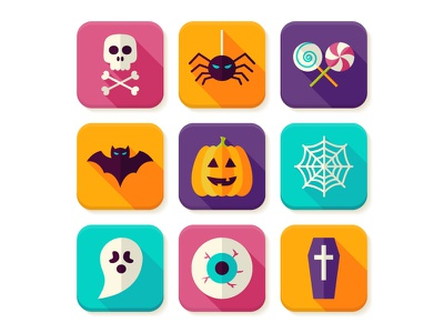 Halloween Flat App Icons skull illustration spiderweb bat ghost scary flat vector icon trick or treat pumpkin halloween