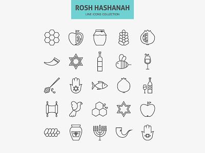 Jewish New Year Holiday Line Icons Set shofar outline year new hashanah rosh judaism vector set line icon jewish