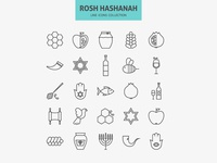Jewish New Year Holiday Line Icons Set