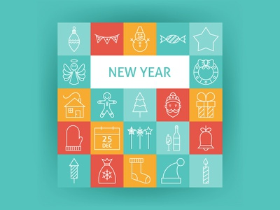 Happy New Year Line Art Icons web icon santa claus gift new year merry christmas decoration snowman christmas holiday winter outline line
