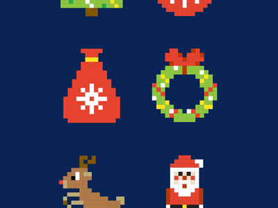 FREE Pixel Christmas Vector Icons freebie free illustration snow santa merry christmas holiday winter icon pixel art vector christmas