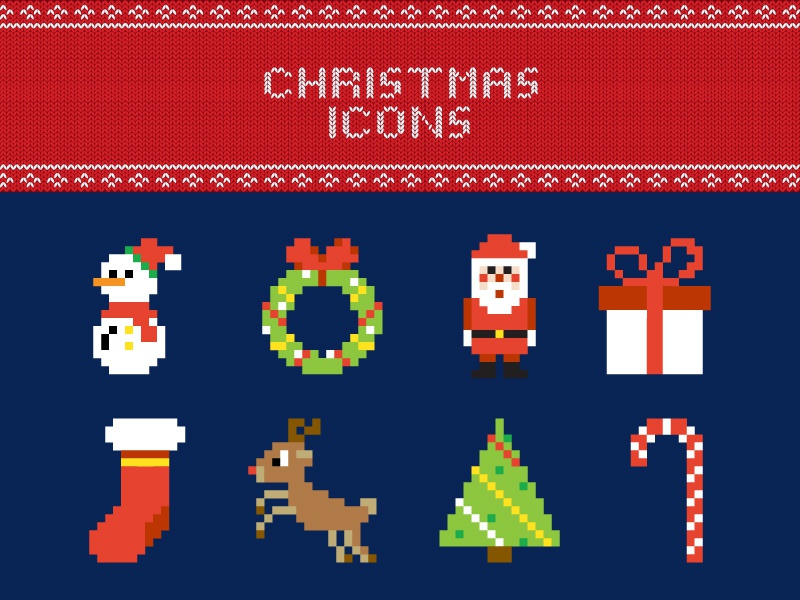 FREE Pixel Christmas Vector Icons freebie free illustration snow santa merry christmas holiday winter icon pixel art vector christmas