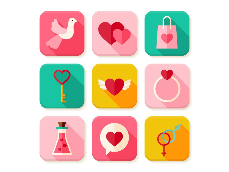 Happy Valentine S Day Flat App Icons By Anna Sereda Dribbble