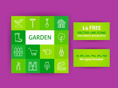 14 FREE Garden Line Art Icons
