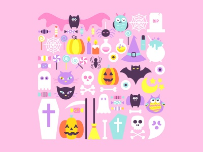 Trendy Style Halloween trick ot treat pastel hipster trendy pumpkin cemetery happy halloween party scary holiday october halloween