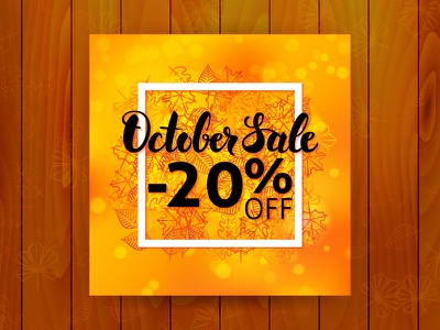 October Sale Flyer vector shopping seasonal sale promotion october lettering fall discount calligraphy autumn advertising